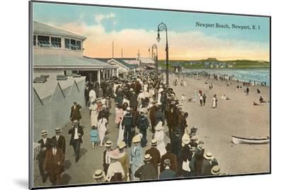 Beach and Boardwalk, Newport, Rhode Island--Mounted Art Print