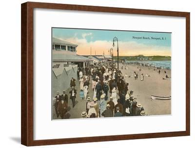 Beach and Boardwalk, Newport, Rhode Island--Framed Art Print