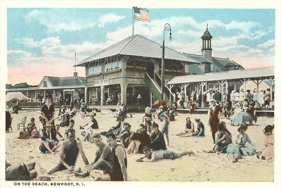 Beach at Newport, Rhode Island--Stretched Canvas Print