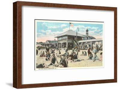 Beach at Newport, Rhode Island--Framed Art Print