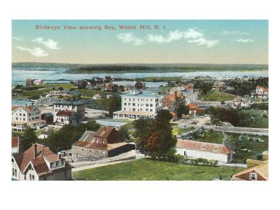 View over Watch Hill, Rhode Island--Framed Art Print