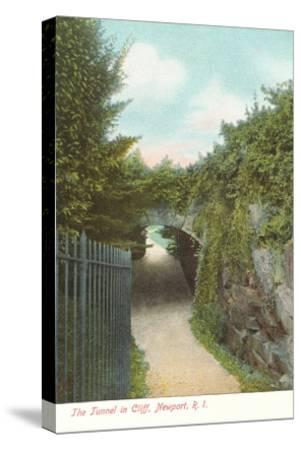 Tunnel in Cliff Walk, Newport, Rhode Island--Stretched Canvas Print