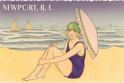 Newport, Rhode Island, Girl on Beach with Parasol--Stretched Canvas Print