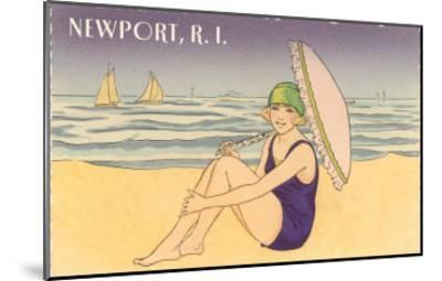 Newport, Rhode Island, Girl on Beach with Parasol--Mounted Art Print
