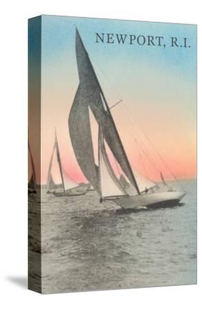 Close-Hauled Sailboat, Newport, Rhode Island--Stretched Canvas Print