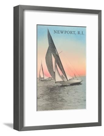 Close-Hauled Sailboat, Newport, Rhode Island--Framed Art Print