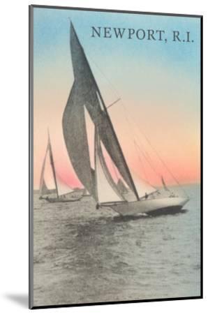 Close-Hauled Sailboat, Newport, Rhode Island--Mounted Art Print