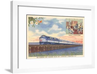 Hummingbird Train Crossing Biloxi Bay--Framed Art Print