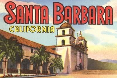 Mission, Santa Barbara, California--Stretched Canvas Print