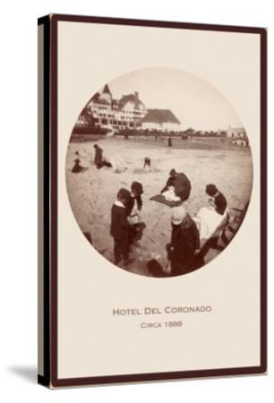 Children on Beach, Hotel del Coronado, San Diego, California--Stretched Canvas Print