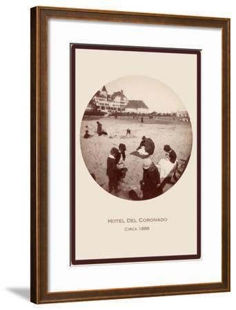 Children on Beach, Hotel del Coronado, San Diego, California--Framed Art Print