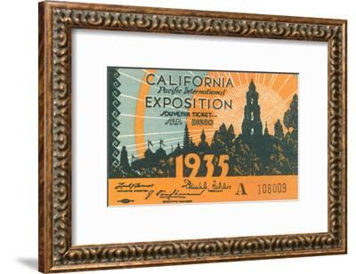 Souvenir Ticket, California Exposition, San Diego--Framed Art Print