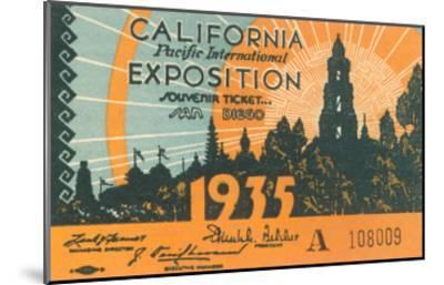 Souvenir Ticket, California Exposition, San Diego--Mounted Art Print