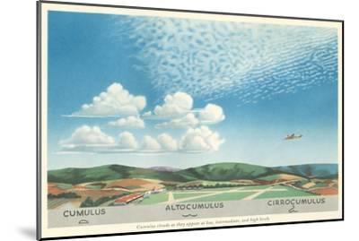 Cumulus, Altocumulus and Cirrocumulus Clouds--Mounted Art Print