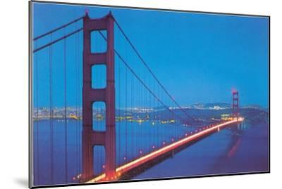 Golden Gate Bridge at Night, San Francisco, California--Mounted Art Print