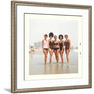 Sixties Women with Wild Bathing Caps--Framed Art Print