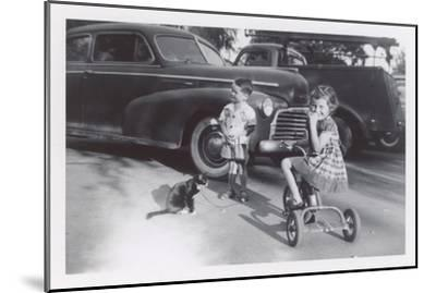 Children with Cat on Leash--Mounted Art Print