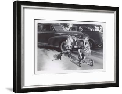 Children with Cat on Leash--Framed Art Print