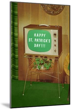 Happy St. Patrick's Day, Green Screen TV--Mounted Art Print