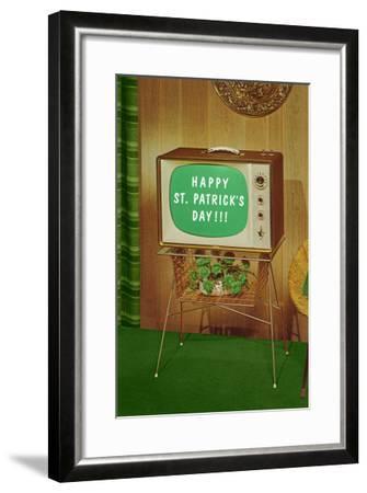 Happy St. Patrick's Day, Green Screen TV--Framed Art Print