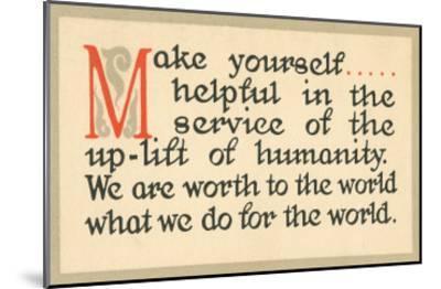 Make Yourself Helpful--Mounted Art Print