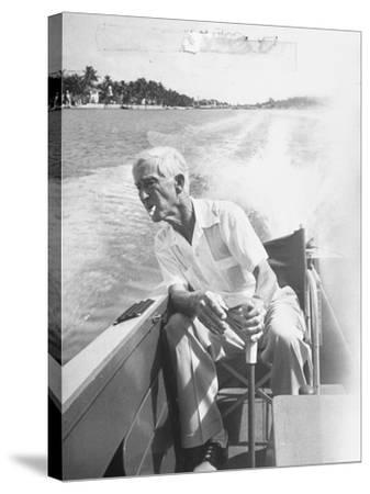 Racer Gar Wood Steering the 188-Foot Long Catamaran Racing Boat Which He Designed--Stretched Canvas Print