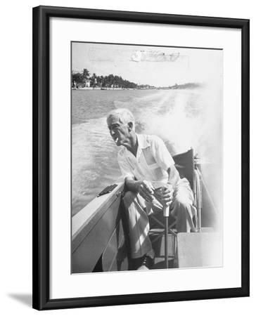 Racer Gar Wood Steering the 188-Foot Long Catamaran Racing Boat Which He Designed--Framed Premium Photographic Print