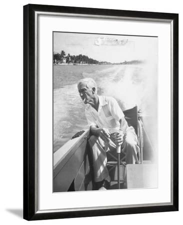 Racer Gar Wood Steering the 188-Foot Long Catamaran Racing Boat Which He Designed--Framed Photographic Print
