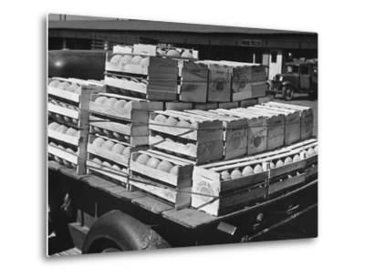 A Truckload of Freshly Harvested Canteloupes in Crates--Metal Print