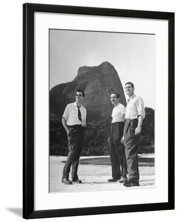 Artist Franklin Thomas Standing with Walt Disney on Brazilian Beach--Framed Photographic Print