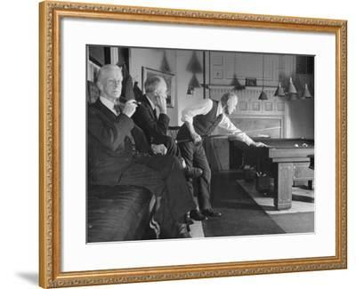 Men Relaxing in the Union Club from a Story Concerning Boston--Framed Photographic Print