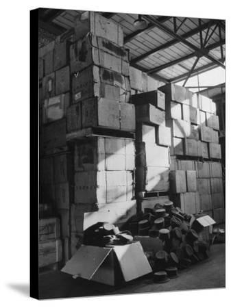 View of Warehouse Full of Boxes of Obsolete Wac Hats--Stretched Canvas Print