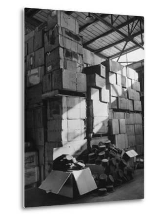 View of Warehouse Full of Boxes of Obsolete Wac Hats--Metal Print