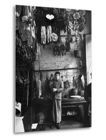 A Butcher Showing His Wares in His Shop--Metal Print