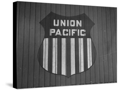 Union Pacific Boxcar Showing Logo--Stretched Canvas Print
