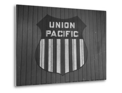 Union Pacific Boxcar Showing Logo--Metal Print