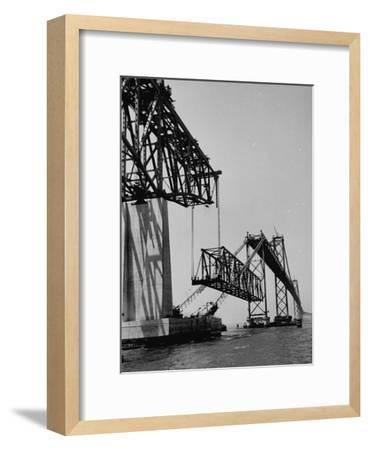 Chesapeake Bay Bridge, Final Span of 4-Mile-Long Bridge Fitted into Place--Framed Photographic Print