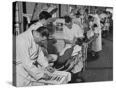 Dentists Working on Soldiers at the Ft. Meade and Walter Reed Dental Hospital--Stretched Canvas Print