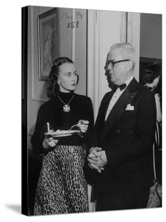"""Mrs. Austine Cassini and James K. """"Jake"""" Vardaman Talking During a Social Function--Stretched Canvas Print"""
