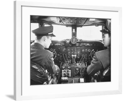 The Cockpit of a United Airlines Dc-4--Framed Photographic Print