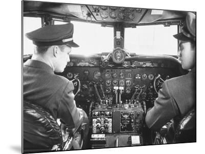 The Cockpit of a United Airlines Dc-4--Mounted Photographic Print
