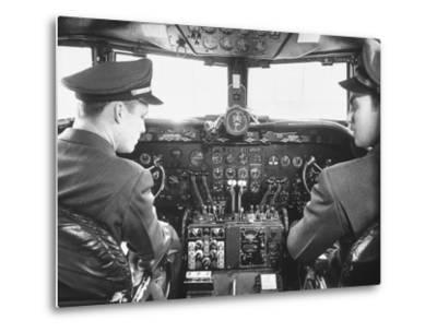 The Cockpit of a United Airlines Dc-4--Metal Print