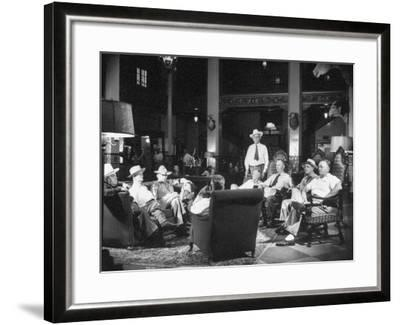 Cattle Men and Natives of San Angelo Sitting in the Lobby of the Cactus Hotel--Framed Photographic Print