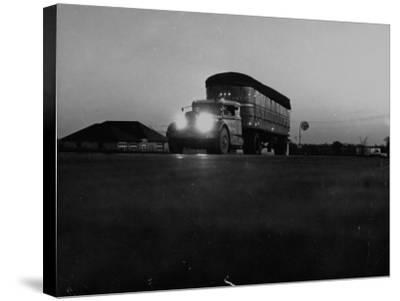 Middle Atlantic Transportation Truck on the Road at Daybreak--Stretched Canvas Print