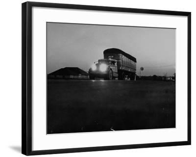 Middle Atlantic Transportation Truck on the Road at Daybreak--Framed Photographic Print