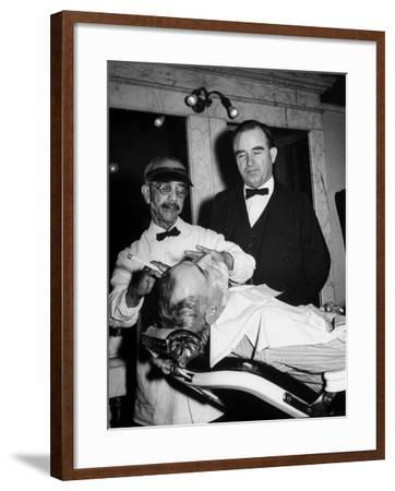 Representative Ned Patton Watching Barber at Work in the House Barber Shop--Framed Photographic Print