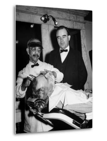 Representative Ned Patton Watching Barber at Work in the House Barber Shop--Metal Print