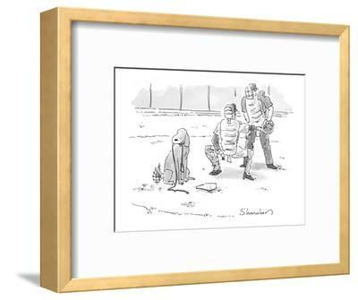 Dog at home plate with a leash in his mouth, waiting for pitcher to walk h? - New Yorker Cartoon-Danny Shanahan-Framed Premium Giclee Print