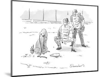Dog at home plate with a leash in his mouth, waiting for pitcher to walk h? - New Yorker Cartoon-Danny Shanahan-Mounted Premium Giclee Print