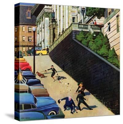 """""""Spilled Purse on Steep Hill"""", March 26, 1955-John Falter-Stretched Canvas Print"""